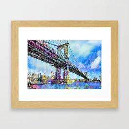 New York City Manhattan Bridge Blue Framed Art Print