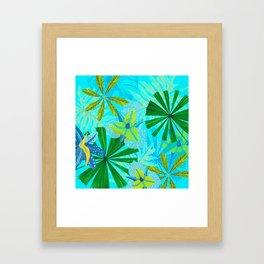 My blue abstract Aloha Tropical Jungle Garden Framed Art Print