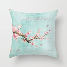 Live life in full bloom - Romantic Spring Cherryblossom butterfly  Watercolor illustration on aqua Throw Pillow