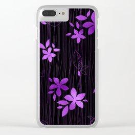 Colorful Art Deco Violet Flower Pattern Clear iPhone Case