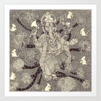 ganesh Art Prints featuring Ganesh by nu boniglio