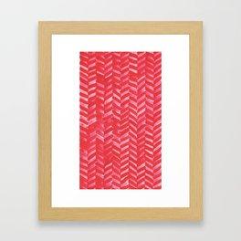 Hot Pink Herringbone Framed Art Print