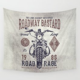 Vintage Motorcycle Poster Style Wall Tapestry