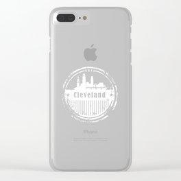 Cleveland Skyline Vintage T-Shirt Clear iPhone Case