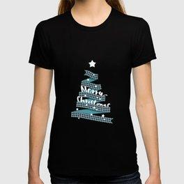 Blue Christmas Ribbon Tree T-shirt