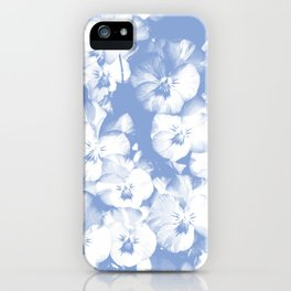 A bed of lilac flowers in gprahic in blue and white spring iPhone Case