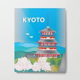 Kyoto, Japan - Skyline Illustration by Loose Petals Metal Print