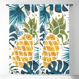Golden pineapple on palm leaves foliage Blackout Curtain