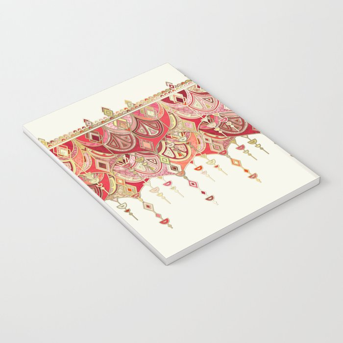 Royal Red Art Deco Double Drop Notebook