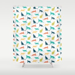 Colorful Cat Pattern Minimal Happy Bright Shower Curtain