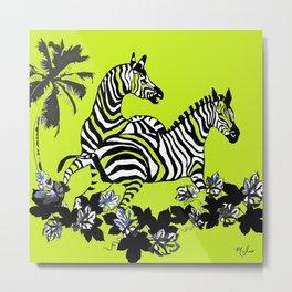 Zebras Lime Green and Black Metal Print