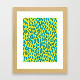 Bright Yellow & Blue Leopard Print Framed Art Print