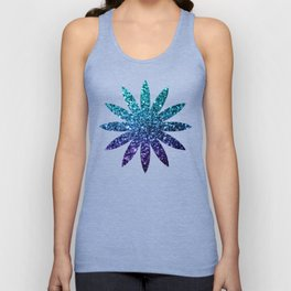 Beautiful Aqua blue Ombre glitter sparkles Unisex Tank Top