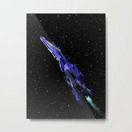 Fighter in Space Metal Print