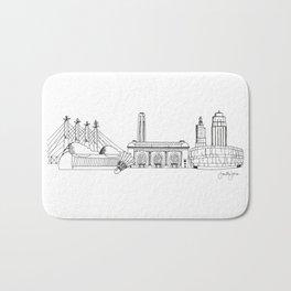 Kansas City Skyline Illustration Black Line Art Bath Mat