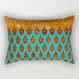 Copper Metal Foil and Aqua Mermaid Scales - Beautiful Abstract glitter pattern Rectangular Pillow