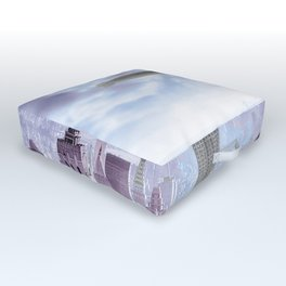New York Skyline and Blimp Outdoor Floor Cushion