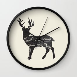 Venison Butcher Diagram-Deer Wall Clock