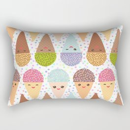 Kawaii mint raspberry chocolate Ice cream waffle cone with pink cheeks and winking eyes Rectangular Pillow