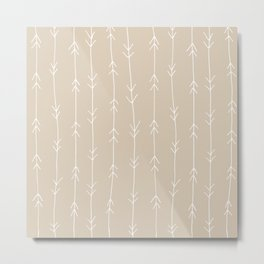 Arrow Pattern: Beige Metal Print