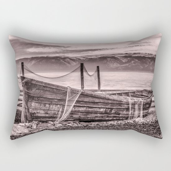 Old rusty boat with net (sepia) Rectangular Pillow