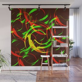 Background of fire circles. Fireballs and spheres with color overlay. Wall Mural