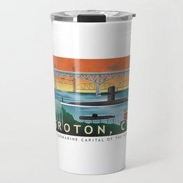 Groton, CT - Retro Submarine Travel Poster Travel Mug