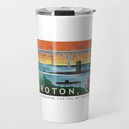 Groton, CT - Retro Submarine Travel Poster Travel Mug