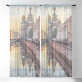 Church of the Savior on Blood, Saint Petersburg, Russia Sheer Curtain
