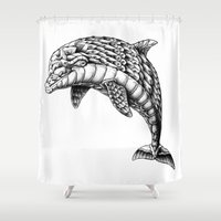 ornate Shower Curtains featuring Ornate Dolphin by BIOWORKZ