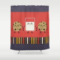 milk Shower Curtains featuring milk and cookies by ValoValo