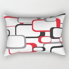 Red Black Gray Retro Square Pattern White Rectangular Pillow