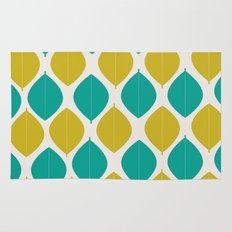 TEAL AND GREEN LEAVES Rug
