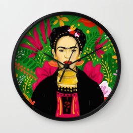 Frida Flower Kalho Art Print by Cindy Rose Studio Wall Clock