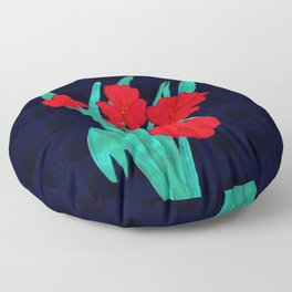 Red flowers gladiolus art nouveau style Floor Pillow