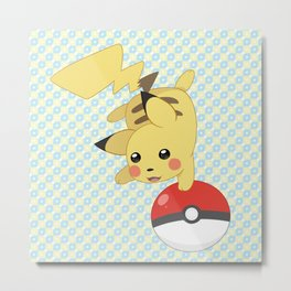Pokeball Pika Metal Print
