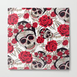 Floral skull Leaves Pattern Face Women Mask Metal Print