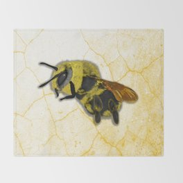 Bee on White Marble Throw Blanket