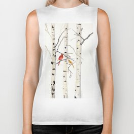 Birch Trees and Cardinal Biker Tank