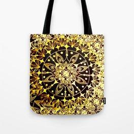 Baroque Inspired Gold Sunburst Mandala Tote Bag