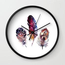 Purple blue pink brown feathers Wall Clock