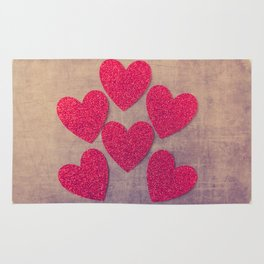 Red Hearts #retro Rug