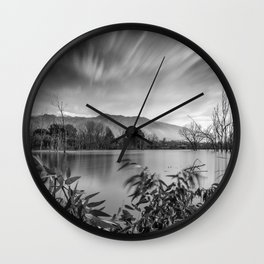 """Windy Clouds At The Lagoon"" BW Wall Clock"