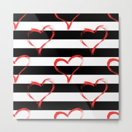 Hearts and stripes pattern Metal Print