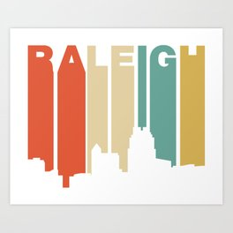 Retro 1970's Style Raleigh North Carolina Skyline Art Print