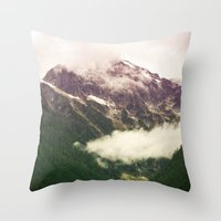 the mountains are calling Throw Pillows featuring The Mountains Are Calling by Noonday Design
