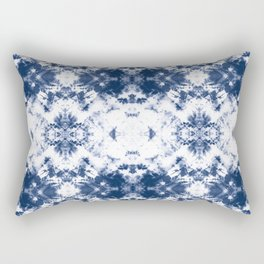 Shibori Tie Dye 3 Indigo Blue Rectangular Pillow