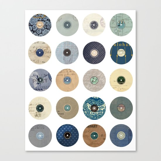 Vinyl Record Collage Canvas Print