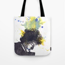 Portrait of Bob Dylan in Color Splash Tote Bag