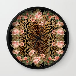 Rose around the Leopard Wall Clock